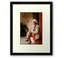 Old Indian man in turban Framed Print
