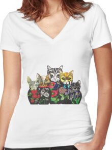 Cat Russian doll family Women's Fitted V-Neck T-Shirt