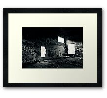 Athletic man in a abandoned place Framed Print