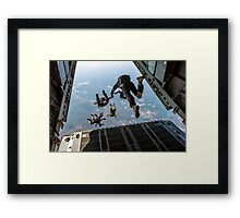 parachute soldiers on airplane Framed Print