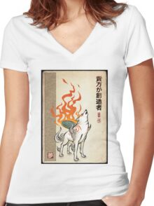 Okami Women's Fitted V-Neck T-Shirt