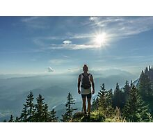 Adventurer on the tops mountain  Photographic Print