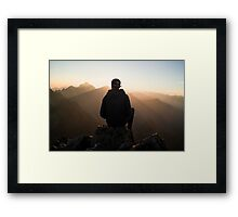 sitting on the tops mountain Framed Print