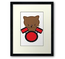 Kawaii Drummer Cat Framed Print