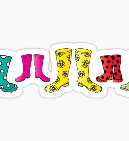 Colourful Wellington Boots Festival Fun Design Sticker