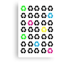 Neon Recycle Symbols Canvas Print