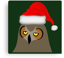 Funny Annoyed Owl Wearing a Christmas Hat Canvas Print