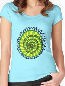Spiked Striped Spiral (green) T-shirt Women's Fitted Scoop T-Shirt