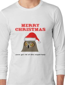 Annoyed Owl Wearing a Christmas Hat Long Sleeve T-Shirt