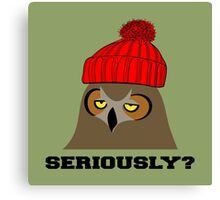 Annoyed Owl Wearing a Red Beanie Canvas Print