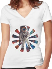Astro Man Women's Fitted V-Neck T-Shirt