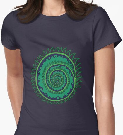 Spiked Wavy Spiral (green) Girl T-shirt Womens Fitted T-Shirt