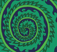 Spiked Wavy Spiral (green) Girl T-shirt Sticker
