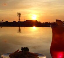 Balinese orange sunset with drink Sticker