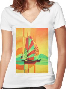 Chinese Junks Sail to Shore Women's Fitted V-Neck T-Shirt