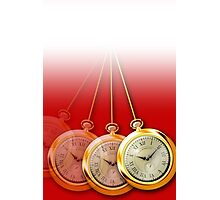 Swinging Pocket Watch for Hypnotists - Red Background Photographic Print