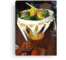 Balinese Traditional Dinner Basket Canvas Print