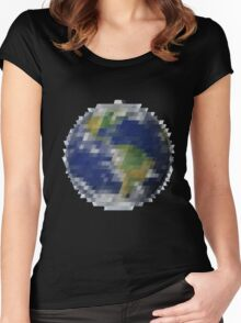 Pixelized Earth Women's Fitted Scoop T-Shirt
