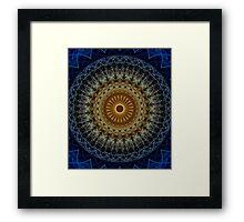 Mandala in blue and amber tones Framed Print