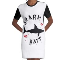 Shark Bait Great White Shark Attack Blood Splats Graphic T-Shirt Dress