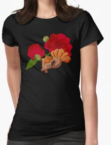 Vulpix with Peonies  Womens Fitted T-Shirt