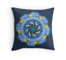Blue and Yellow Fish Kaleidoscope Throw Pillow