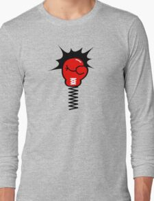Comic Book Boxing Glove on Spring Pow Long Sleeve T-Shirt