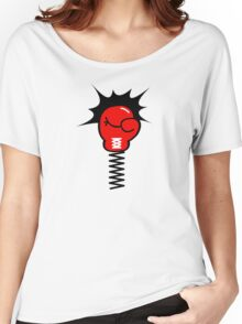 Comic Book Boxing Glove on Spring Pow Women's Relaxed Fit T-Shirt