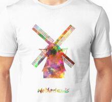 Netherlands Landmark Mill in watercolor Unisex T-Shirt
