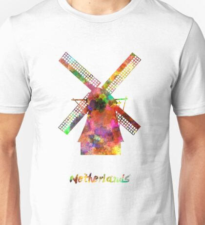 Netherlands Landmark Mill in watercolor Unisex T-Shirt