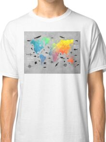 Map of the world grey Classic T-Shirt