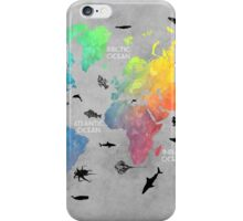 Map of the world grey iPhone Case/Skin