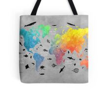 Map of the world grey Tote Bag