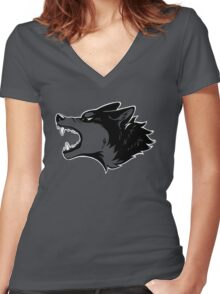 Angry Wolf Tee (Transparent) Women's Fitted V-Neck T-Shirt