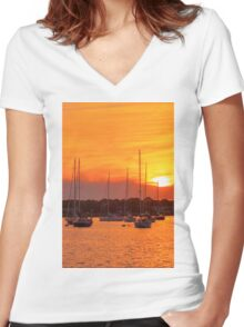 Fiery Skies Women's Fitted V-Neck T-Shirt