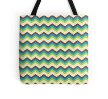Brown, Blue, Green chevron pattern zig zag Tote Bag