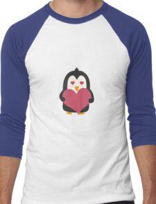 Penguin with a heart   Men's Baseball ¾ T-Shirt