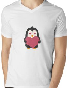 Penguin with a heart   Mens V-Neck T-Shirt