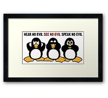 Three Wise Penguins Design Graphic Framed Print