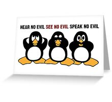 Three Wise Penguins Design Graphic Greeting Card