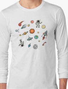 Outer Space Planetary Illustration Long Sleeve T-Shirt