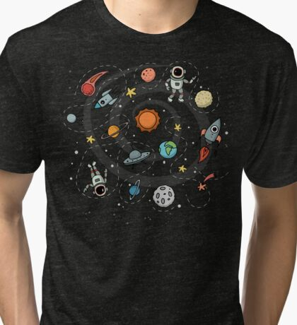 Outer Space Planetary Illustration Tri-blend T-Shirt
