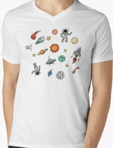 Outer Space Planetary Illustration Mens V-Neck T-Shirt