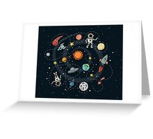 Outer Space Planetary Illustration Greeting Card