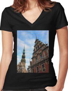 House of the Blackheads, Riga, Latvia Women's Fitted V-Neck T-Shirt