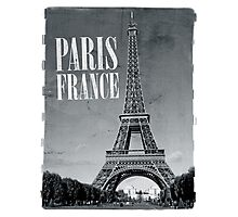 vintage eiffel tower black and white Photographic Print