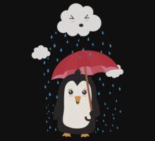 Penguin in the rain   Kids Tee