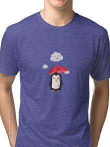 Penguin in the rain   Tri-blend T-Shirt