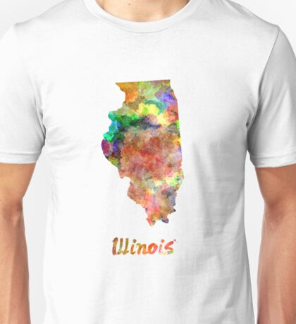 Illinois US state in watercolor Unisex T-Shirt