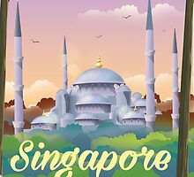 Singapore Mosque Travel poster by Nick  Greenaway